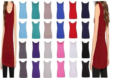 £5.99 • Buy Ladies Round Scoop Neck Sleeveless Long Stretch Plain Vest Strappy Top T-Shirt