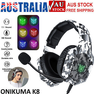 AU32.39 • Buy Onikuma K8 Gaming Headset With Mic Stereo Heavy Bass Headphone For Laptop PC PS4