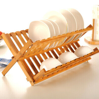 £12.95 • Buy Wooden Folding 2 Tier Dish Drainer Dinner Plates Rack Stand Holder Kitchen Tidy