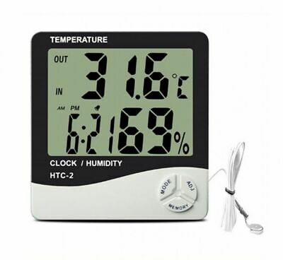 Hydroponics Hygrometer Large Thermometer With Probe Grow Room Grow Tent Digital • 8.49£