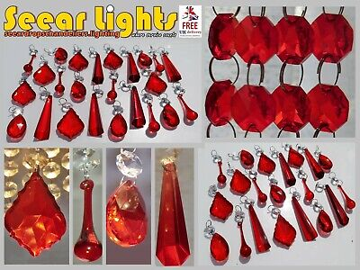 £34.99 • Buy Red Chandelier Glass Crystals Drops Lamp Droplets Beads Light Replacement Parts