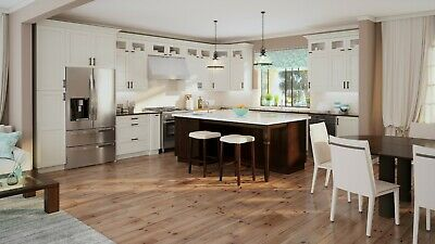 $4599.99 • Buy Fully Assembled - All Wood 10X10 Shaker Antique White Kitchen Cabinets