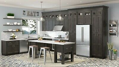 $4599.99 • Buy Fully Assembled - All Wood 10X10 Shaker Cinder Kitchen Cabinets Gray Charcoal