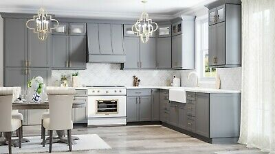 $4599.99 • Buy Fully Assembled - All Wood 10X10 Modern Shaker Grey Kitchen Cabinets Dark Gray