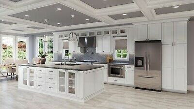 $4999.99 • Buy Fully Assembled - All Wood 10X10 Classic Modern Shaker White Kitchen Cabinets