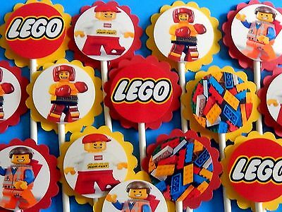 $7.55 • Buy 15 LEGO  Cupcake Toppers Birthday Party Favors, Baby Shower Decoration 15