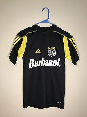 9bcdb3a8fdf Adidas Mls Columbus Crew Authentic Barbasol Black Jersey Size Xsmall Euc •  19.95