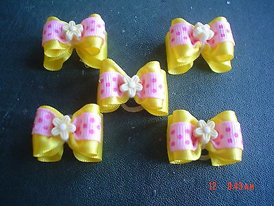 Pretty Yellow And Pink Show Style Dog Grooming Bows Flower Centre • 5.29£