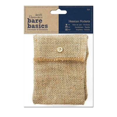 £4.99 • Buy 3 X Papermania Bare Basics Hessian Pockets With Button Closure Brown Rectangular