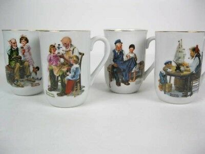 $ CDN32.37 • Buy Vintage NORMAN ROCKWELL Collector Coffee Mugs Set Of 4 Porcelain 1982
