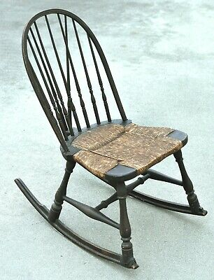 $246.46 • Buy Antique Wooden Nursing Rocking Chair W/ Wicker Seat & Spindles Back