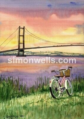 Humber Bridge  A3 Giclee Print Of Original Water Colour Painting Hull Yorkshire • 8.99£
