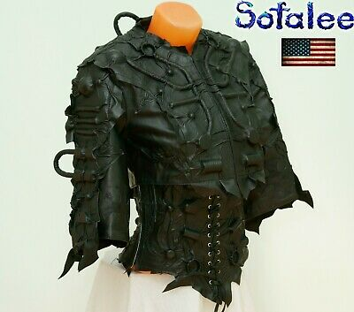 $ CDN654.79 • Buy  Bolero Corset Wide Bracelets Genuine Leather Handmade Black Cyberpunk Jacket SM