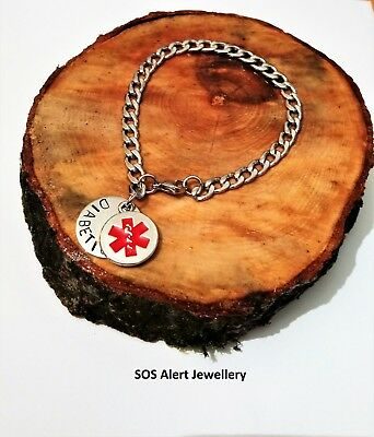 Medical Alert Warning ID SOS Bracelet Strong Stainless Steel Curb Chain   • 4.99£