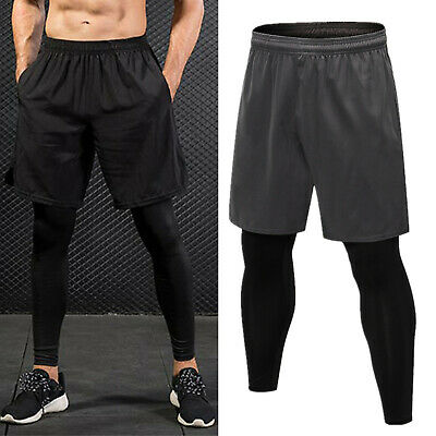 Mens Base Layer Sports Jogging Running Leggings Gym 2-in-1 Fitness Shorts Pants • 11.49£
