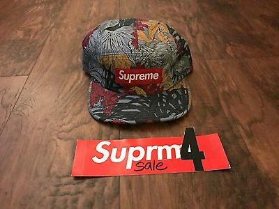 $ CDN379.70 • Buy Rare Supreme Leaves Camp Cap Slate Ss11 2011 Hat Box Logo Red