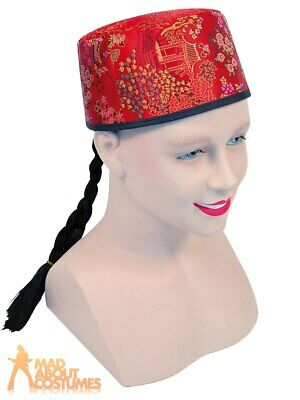 Adult Chinese Mandarin Hat With Plait Mens Ladies Fancy Dress Costume Accessory  • 5.99£