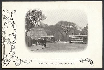 £8 • Buy Sussex. Brighton. Electric Tram Station. Brighton Corporation Tramways. Old Card