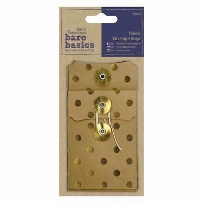 4 X Papermania Bare Basics Gold Spot Foiled Kraft Envelopes Bag With String Tied • 4.99£