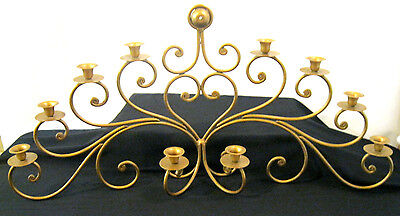 GOLD  Vintage Iron  Hanging Chandelier Candle Holder 10 CANDLES • 59.40£