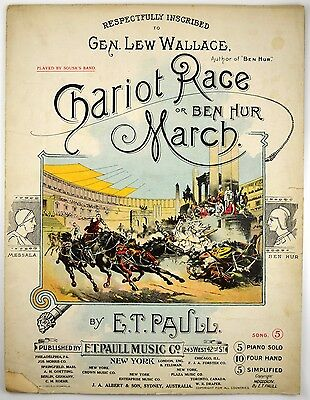 $29.99 • Buy 1894 E.T. Paull  CHARIOT RACE Or BEN HUR MARCH  Art Cover Sheet Music