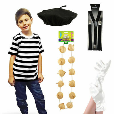 New Kid French Man Boy Tshirt Beret Braces Gloves Mime Actor Fancy Dress Costume • 4.99£