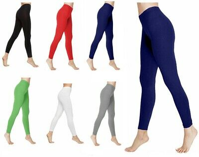 New Ladies Deluxe Quality Cotton Leggings Full Length All Sizes Colours Uk 8-30 • 4.75£