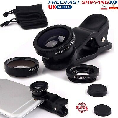 £2.98 • Buy 3 In 1 Clip On Camera Lens Kit Fisheye + Macro + Wide Angle For All Mobile Phone