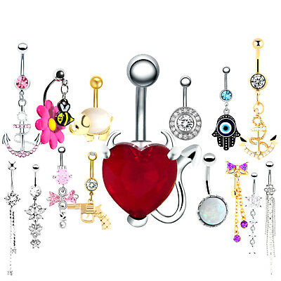 BELLY BARS Crystal Surgical Steel Silver Gold Dangle Navel Body Piercing Bar  • 2.29£