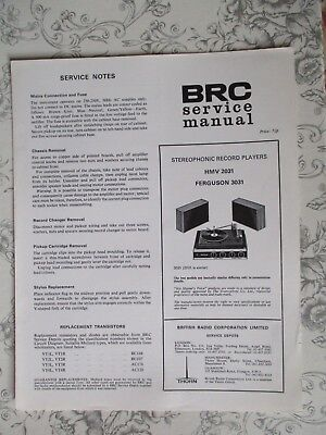 BRC Service Manual - Stereophonic Record Players - HMV 2031, Ferguson 3031 • 3£
