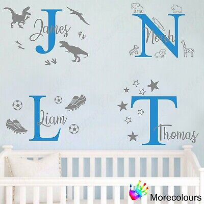 Personalised Name Wall Art Sticker - Letter Baby Boys Bedroom Nursery Decal Cot • 8.99£