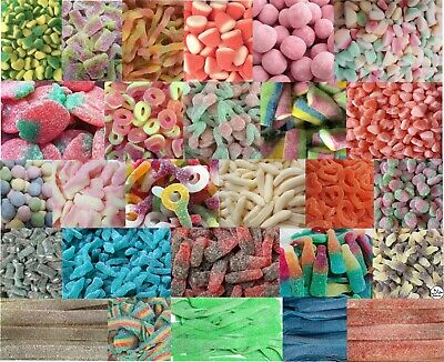 Fizzy Sour Sweets  45 Flavours Halal Party Wedding Soft Chewy Gummy Vegetarian • 9.23£