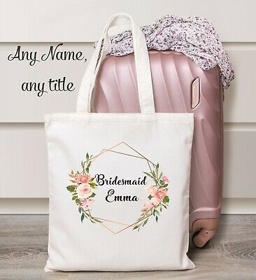 £8.99 • Buy Personalised Wedding Bridesmaid Tote Bag Bride Maid Of Honour Mother Gift Favour