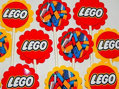 $12.98 • Buy 30 Compatible With LEGO Cupcake Toppers Birthday Party Favors, Baby Shower.