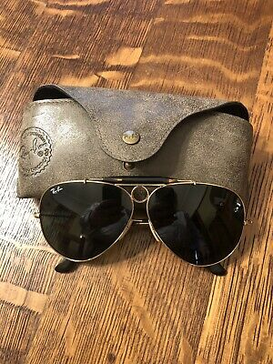 100472cadfb47 Ray-Ban RB 3138 Shooter Aviator Sunglasses 62 09 Green Lenses Italy  Preowned •