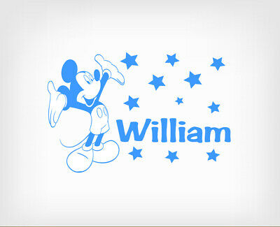 Boys Personalised Mickey Mouse Wall Stickers Art Vinyl Removable Decals DIY • 4.29£