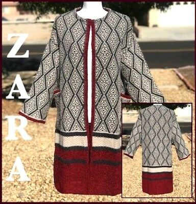 05eac5df ZARA WOMAN (S) JACQUARD DIAMOND OPEN-FRONT COAT Sz SMALL REF: 6771
