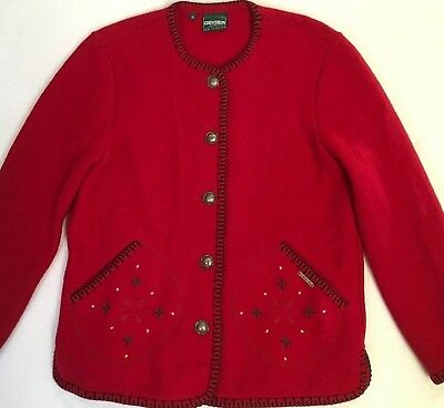 $30 • Buy Geiger Collection Womens Red Boiled Wool Jacket Blazer Cardigan Austria Sz. 36