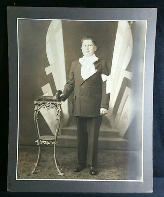 Victorian Or Edwardian Confirmation Photo Of Young Man 16x20 Inch Matt Board EXC • 11.28£