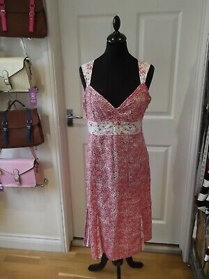 £7.99 • Buy MEXX Summer Dress Pink/White/Red Ditsy Floral Print 100% Cotton UK Size 14