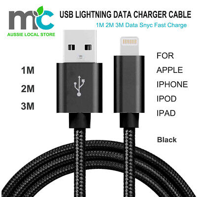 AU2.99 • Buy 1M 2M USB Lightning Cable Cord Data For Apple Charger IPhone IPad IPod Air