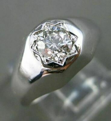 $1375 • Buy Antique Wide .40ct Old Mine Diamond 14k White Gold Classic Mens Gypsy Ring 24663