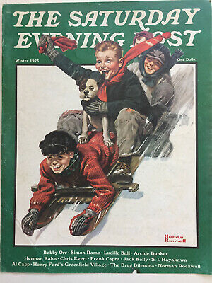 $ CDN19.14 • Buy 1975 Saturday Evening Post COVER ONLY Norman Rockwell  Downhill Daring