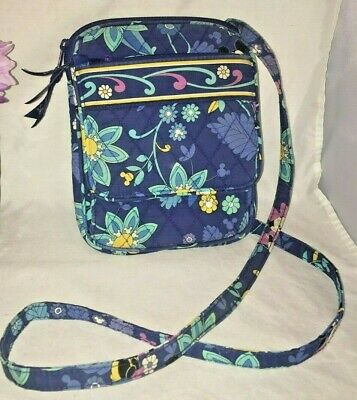 2e46fed1415 Vera Bradley Disney Parks Mickey Mouse Crossbody Purse Quilted Floral Blue  • 30.00
