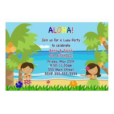30 Invitations Hawaiian Luau Kids Birthday Party Siblings Twins Personalized  • 12.74£