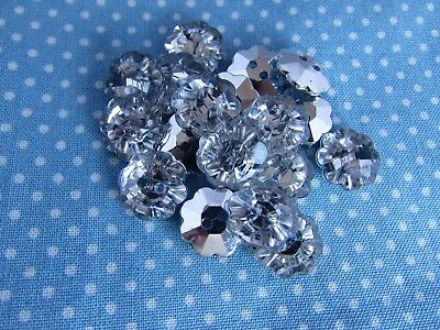 13mm Silver Backed Crystal Rhinestone Flower Shaped Buttons Packs 5, 10 Or 20 • 1.75£