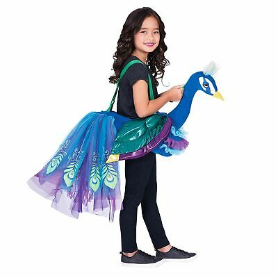 Childs Ride On Peacock Costume Girls Animal Bird Novelty Fancy Dress Kids Outfit • 19.61£
