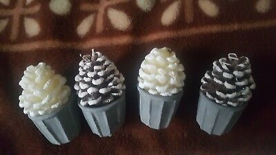 Christmas Decoration Lovely 4 X Bumps In Pots Candles Landon Tyler • 12.99£