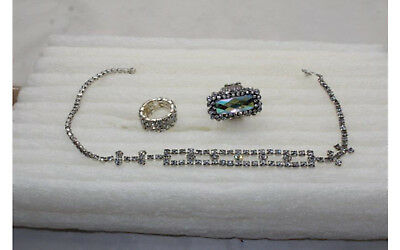 $ CDN28.99 • Buy Vintage Antique Jewelry Lot 16  Necklace 2 Stretchy Rings (size 8) Rhinestone