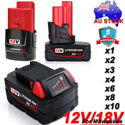 AU43.49 • Buy For Milwaukee M12 M18 Battery 18V M18B6 M18B4 48-11-1860 12V M12B6 48-11-2440 AU